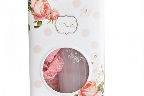 Lata con Shower Gel Rosa+ esponja